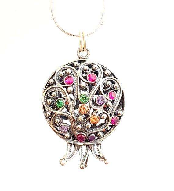 925 Silver Garnets Filigree Pomegranate Necklace