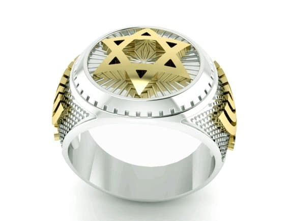925 Silver 9K Gold Star of David Ring and Menorah Ring