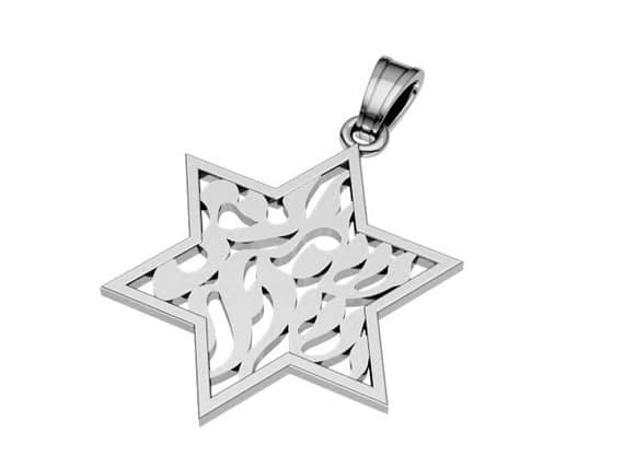 925 Silver SHEMA ISRAEL Pendant, Star of David Pendant , Star of david Necklace