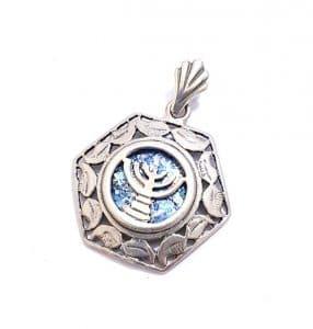 Roman glass 925 Silver Menorah Necklace