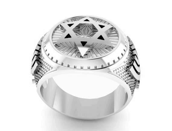 Anillo de Plata 925 con Estrella de David, Anillo de Menorá, anillo del rey salomon, Regalo para Hombre, Anillo Judío