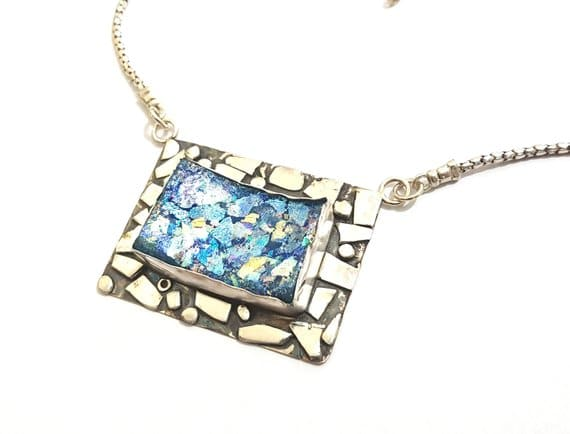 Hand Made One of A Kind 925 Silver Roman Glass Pendant ,Roman Glass Necklac
