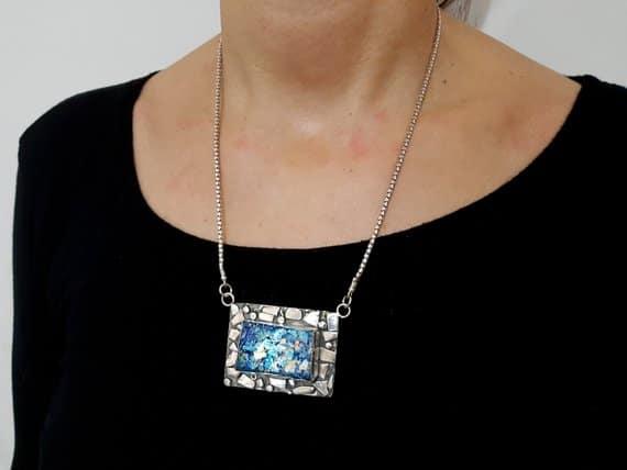Colgante Único Hecho a Mano de Cristal Romano y Plata de 925, Collar de Cristal Romano