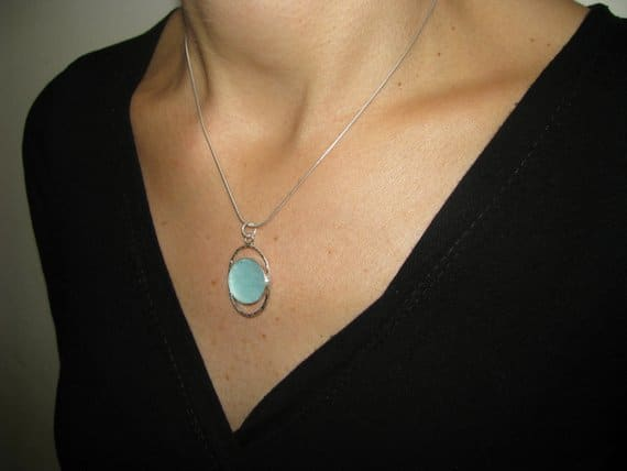 925 Sterling Silver Roman Glass Pendant ,Oval Pendant ,Roman Glass Necklace
