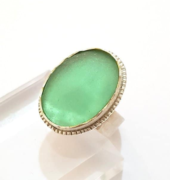 Anceint Roman Glass Ring, 925 Sterling Silver Ring,Adjustable Ring,Hand Made Ring ,Roman Glass Jewelry ,Green Ring,Oval Ring