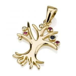 14K Yellow Gold Tree of Life Pendant with Sapphire, Rubies and Diamonds
