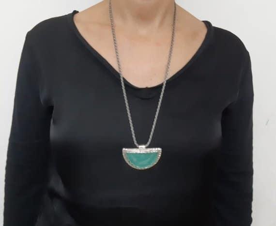 Colgante de Cristal Romano Exepcional Hecho a Mano de Plata 925, Collar de Cristal Romano