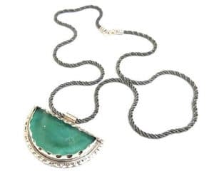Hand Made 925 Silver Rare Roman Glass Pendant ,Roman Glass Necklace