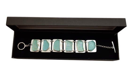 Pulsera Antigua de Cristal Romano de Plata 925
