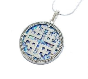 925 Silver Roman Glass Cross Pendant Necklace ,925 Silver Cross