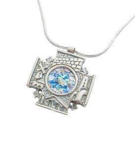 3D Jerusalem Roman Glass 925 Silver Cross Pendant Necklace