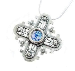 925 Silver Roman Glass Cross Pendant Necklace ,925 Silver Cross