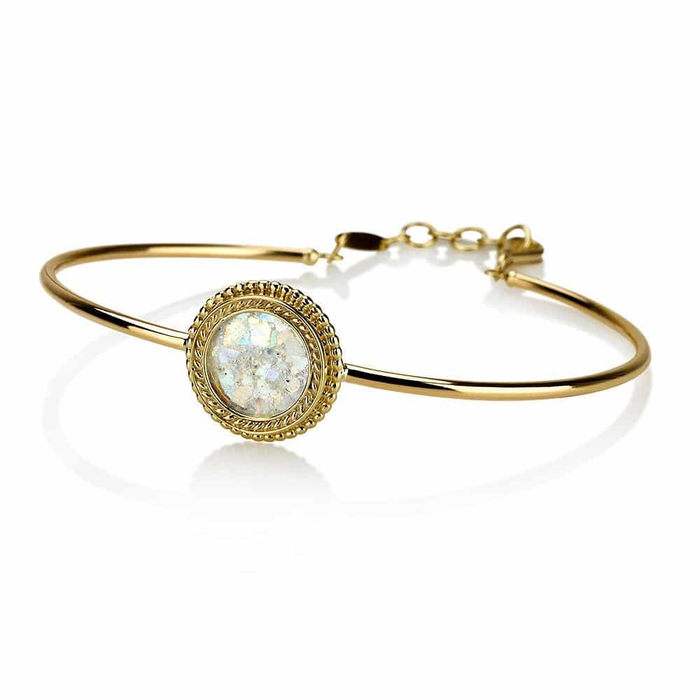 14K Gold Bangle with Filigree Bordered Roman Glass