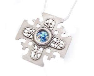 Filigree 925 Silver Roman Glass Cross Pendant Necklace ,925 Silver Cross ,Filgree Cross