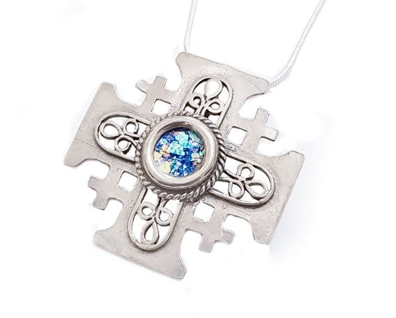 Filigree 925 Silver Roman Glass Cross Pendant Necklace ,925 Silver Cross ,Filgree Cross