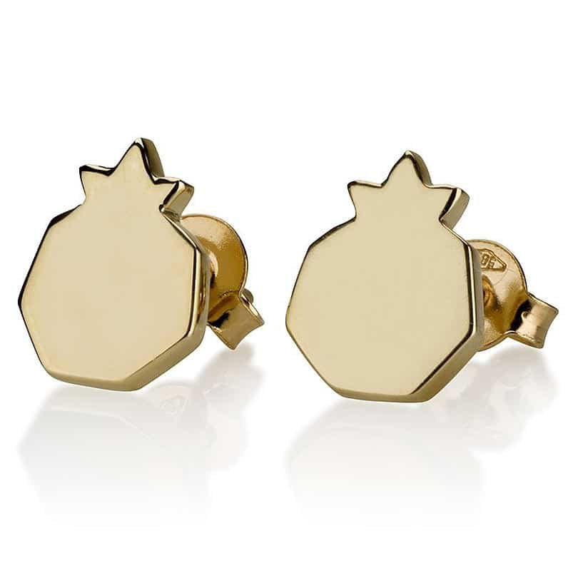 14K Gold Classic Pomegranate Stud Earrings