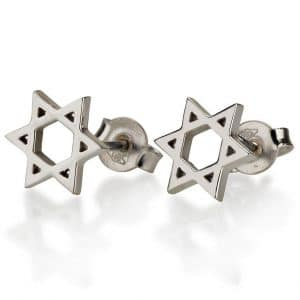14K White Gold Star of David Stud Earrings