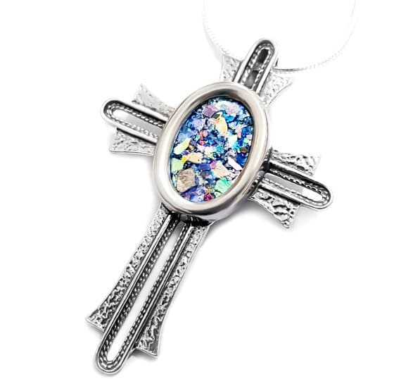 925 Silver Roman Glass Cross Pendant Necklace