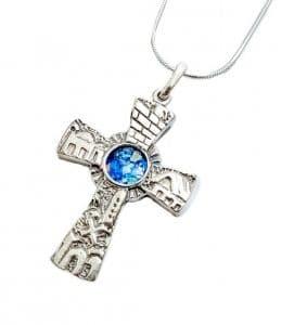 Colgante Jerusalem en 3D de Cristal Romano Cruz de Plata 925, Cruz de Jerusalem, Cruz de Cristal Romano, Colgante de Cruz Cristiano, Colgante de Cruz de Vidrio Romano