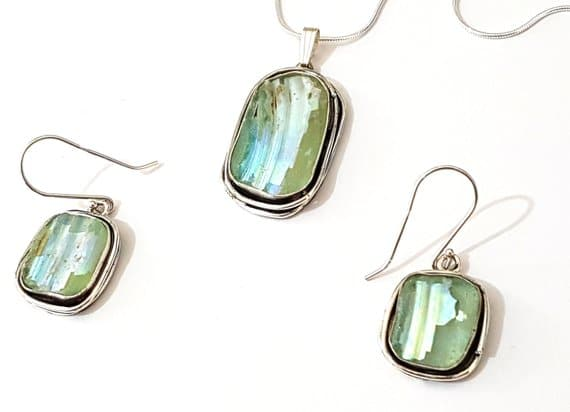 Hand Made 925 Silver Roman Glass Pendant Set , Roman Glass Earrings