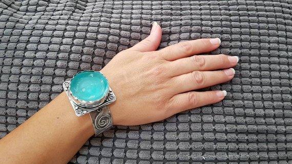 Pulsera Antigua de Cristal Romano y Plata Esterlina 925 Hecha a Mano de Cristal Romano, Pulsera de Cristal Romano