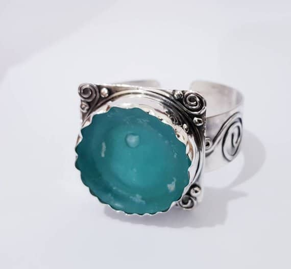 Ancient Roman Glass 925 Sterling Roman glass Cuff Bracelet
