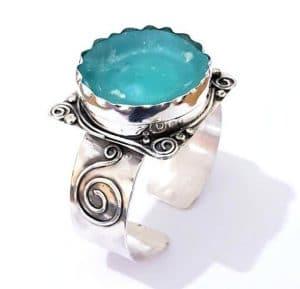 Ancient Roman Glass 925 Sterling Roman glass Cuff Bracelet