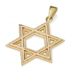 14K Gold Raised Star of David Pendant