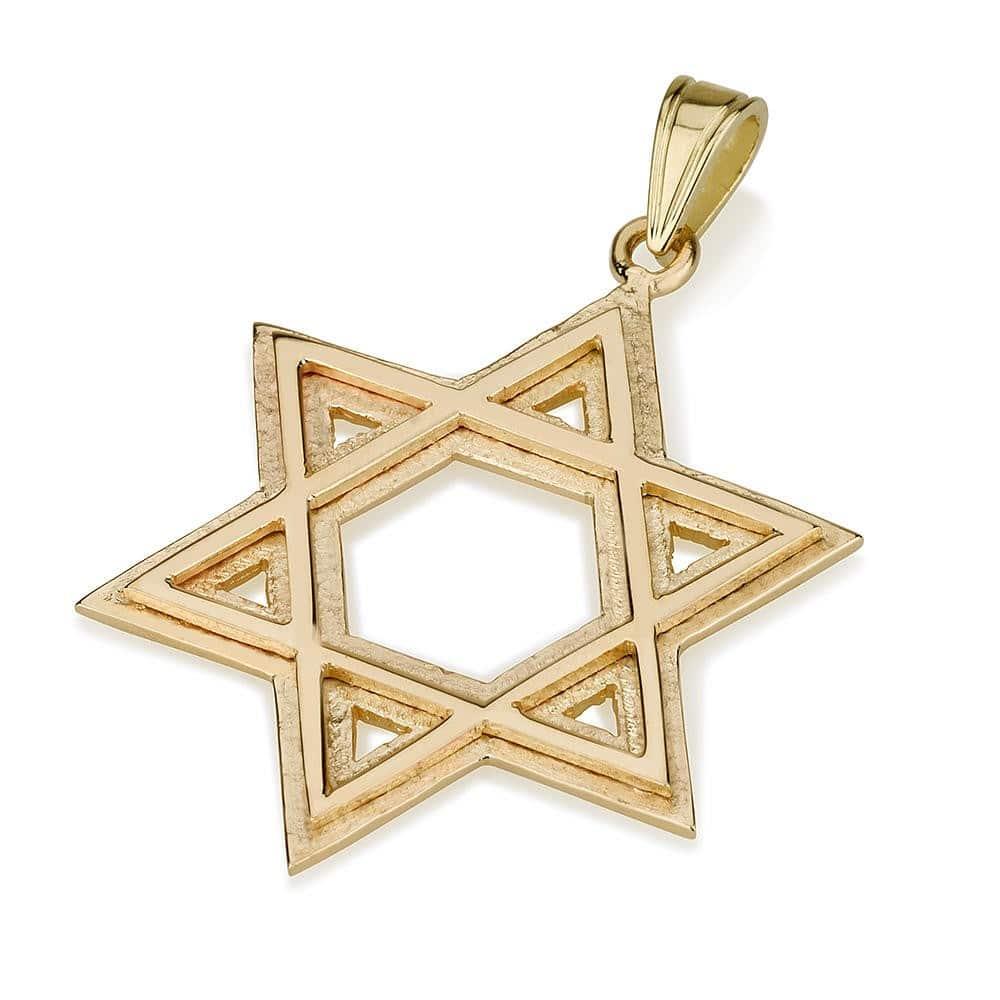 14K Gold Raised Star of David Pendant