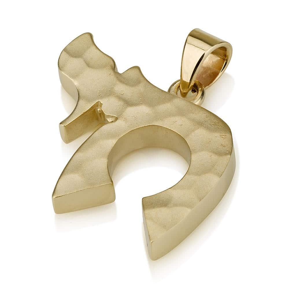 Colgante Chai de Oro Amarillo de Textura Curvada de 14Q