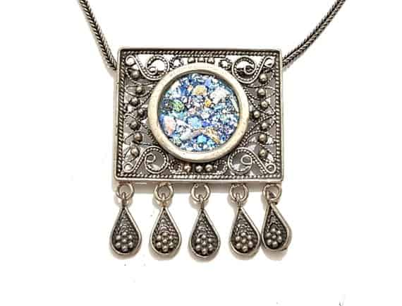 925 Sterling Silver Yemenite Filigree Work Pendant with Roman Glass