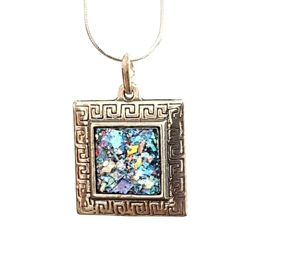 Sqaure 925 Sterling Silver Roman Glass Pendant Necklace