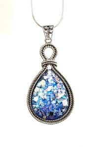 925 Silver Tear Drop Roman Glass Filigree Pendant Necklace