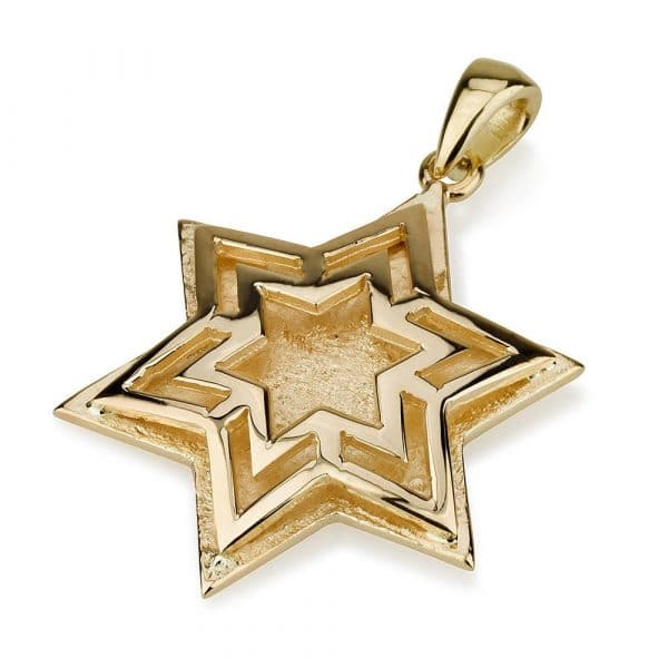 14K Gold Triple Star of David Pendant