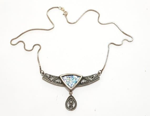 Beautiful Yemenite 925 Silver Filigree Roman Glass Necklace