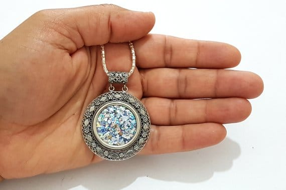 925 Sterling Silver Yemenite Filigree Work Roman Glass Pendant Necklace
