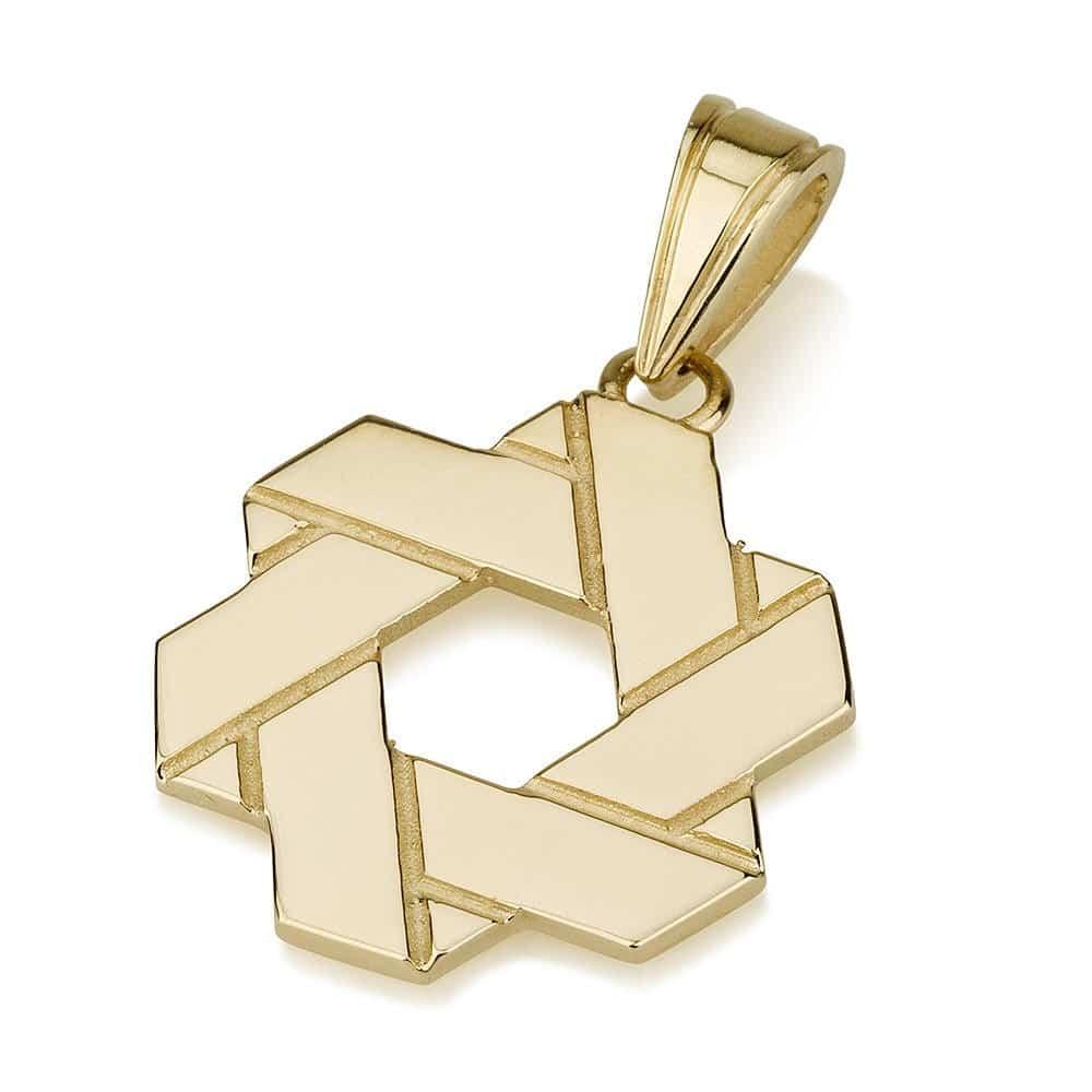 Estrella de David Doblada de Oro 14K