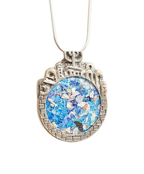 925 Silver 3D Jerusalem Roman Glass Pendant Necklace