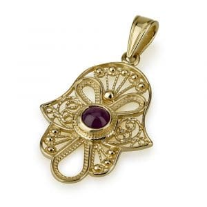 14K Gold Filigree Hamsa with Amethyst Stone