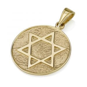 14K Gold Star of David Disk Pendant