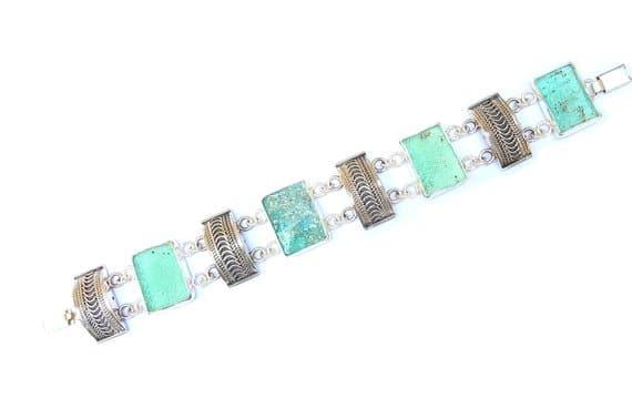 Pulsera Antigua Única de Filigrana Yemenita y Plata 925 Hecha a Mano de Cristal Romano Antiguo