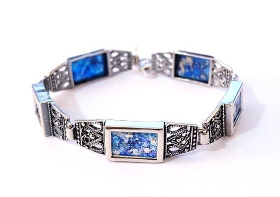 925 Sterling Yemenite Fillgree Roman Glass Bracelet