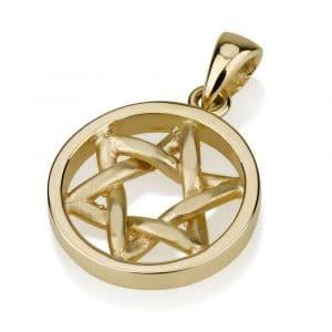 Colgante Disco de Estrella de David Ecurvado de Oro de 14 Quilates - Pequeño