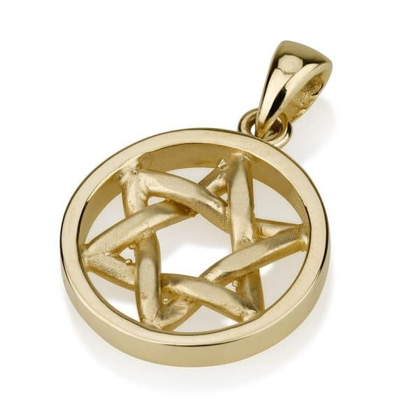 14K Gold Curved Star of David Disk Pendant - Small