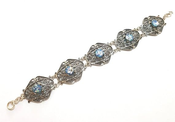 925 Sterling Yemenite Fillgree Roman Glass Bracelet