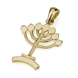 14K Gold Tree of Life Menorah Pendant
