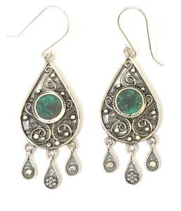 Eilat Stone King Solomon Stone 925 Sterling Silver Drop Shape Earrings