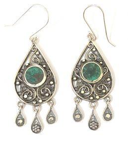 Eilat Stone King Solomon Stone 925 Sterling Silver Drop Shape Earrings