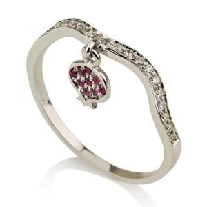 14K White Gold Pendant Pomegranate Ring stayle with Rubies and Diamonds