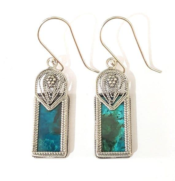 Eilat Stone King Solomon Stone 925 Sterling Silver Earrings